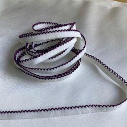 Élastique picots ivoire/prune