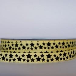 Ruban étoiles noires jaune