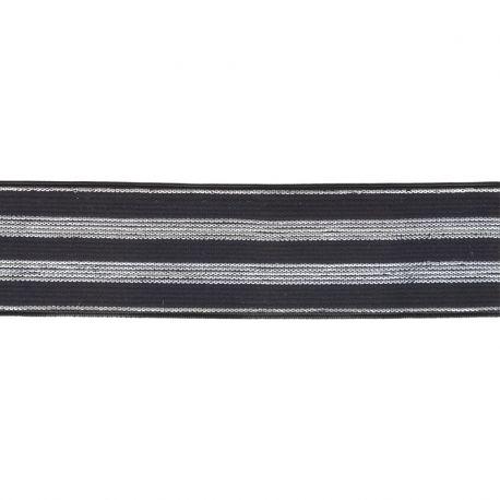 Élastique rayé noir/argent - 30 mm