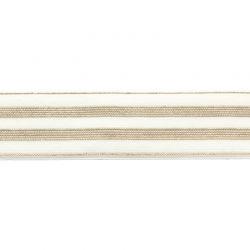 Élastique rayé blanc/or - 30 mm