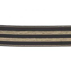 Élastique rayé noir/or - 30 mm