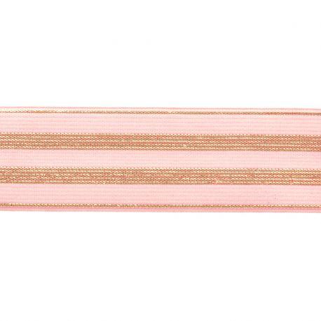 Élastique rayé rose/or - 30 mm