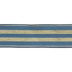 Élastique rayé blau jean/or - 30 mm
