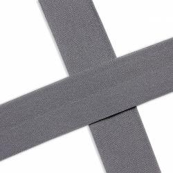 Biais élastique préplié mat gris foncé-20mm