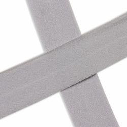 Biais élastique préplié mat gris argent-20mm