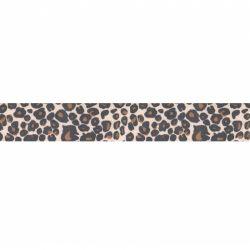 Biais élastique préplié léopard marron-25mm