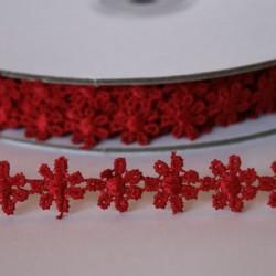 Guipure fleur rouge