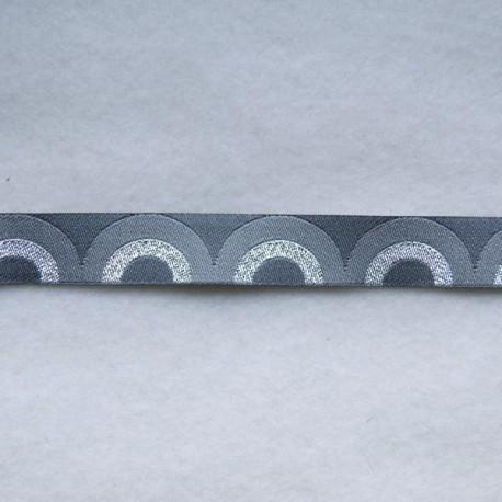 Ruban rétro waves gris/argent