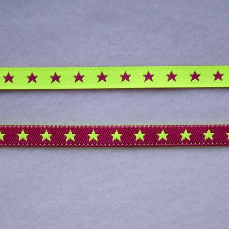 Ruban petites étoiles rose fluo