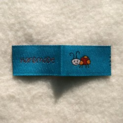 Étiquette handmade coccinelle turquoise