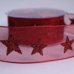 Ruban organza étoiles rouge