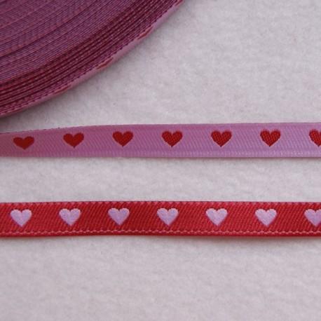 Ruban cœurs rose/rouge