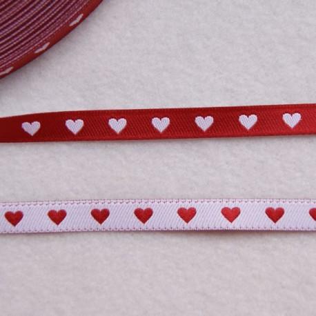 Ruban cœurs rouge/blanc
