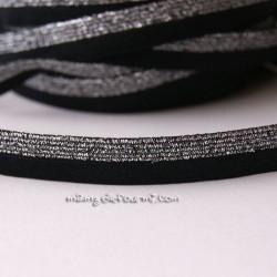 Biais élastique glitter bicolore noir/argent