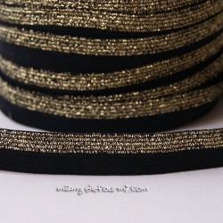 Biais élastique glitter bicolore noir/or