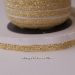Élastique glitter bicolore blanc/or