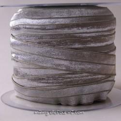 Biais élastique préplié argent/gris