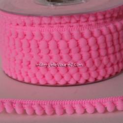 Galon à mini pompons rose fluo light