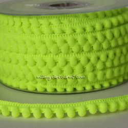 Galon à mini pompons jaune fluo