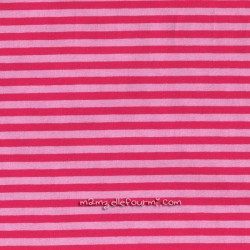 Jersey bio stretch rayé rose/framboise