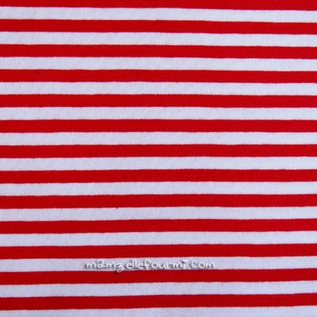 Jersey bio stretch rayé rouge/blanc